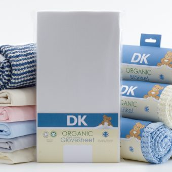 Organic Glovesheets and Blankets, both made in our factory in the UK.